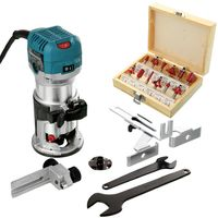 """Makita RT0700CX4 Router/Laminate Trimmer 240V With 12 Piece 1/4"""" Shank Router Cutter Set"""