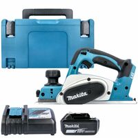 Makita DKP180 18V LXT Cordless 82mm Planer With 1 x 5.0Ah Battery, Charger, Case & Inlay