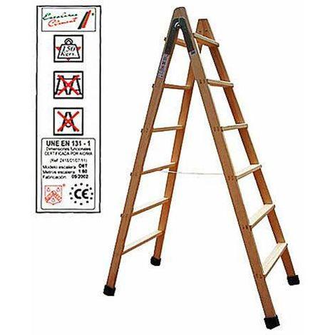 Escalera madera doble peldaño 8 peldaños