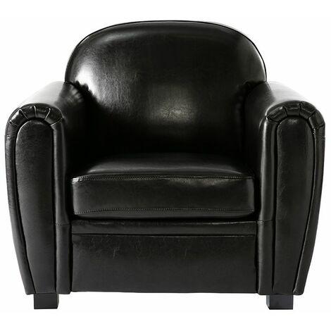 Fauteuil Club cuir - cuir de vachette - Noir