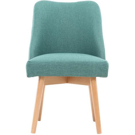 Chaise scandinave tissu pieds bois LIV - Bleu glacier