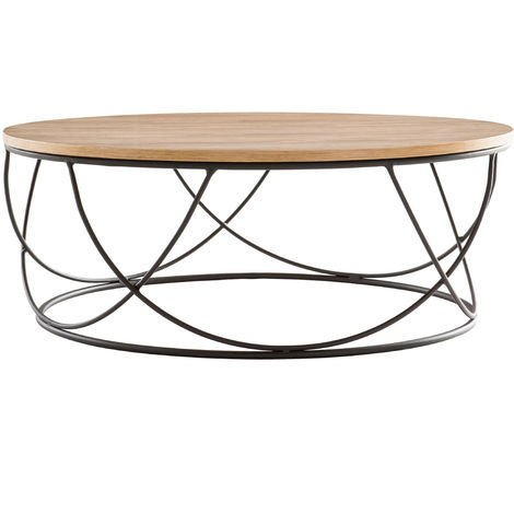 Table basse ronde bois métal D80 x H30 cm LACE - Bois clair / noir