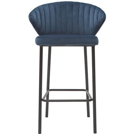Tabouret de bar design velours 65 cm DALLY - Bleu foncé velours