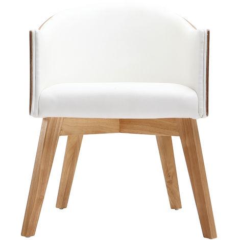 Fauteuil design NORDECO - Bois clair / blanc
