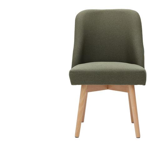 Chaise scandinave tissu pieds bois LIV - Kaki