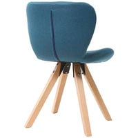 Chaise scandinave tissu bois ANYA - Bleu
