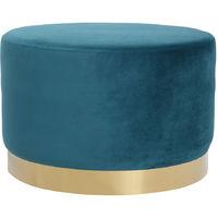 Pouf rond en velours métal 54 cm AMAYA - Bleu canard velours