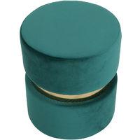 Pouf rond en velours métal JOY - Vert velours