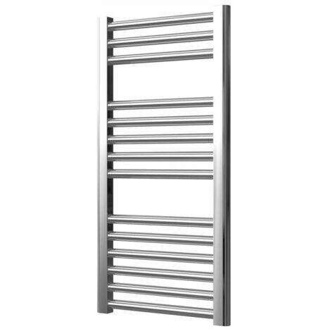 Extra High Heat Output Chrome Central Heating Towel Rail 400 x 800mm Flat Bathroom Radiator Heater