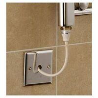 Extra High Heat Output Chrome Electric Towel Rail 400 x 800mm + TIMER / ROOM THERMOSTAT Flat Bathroom Radiator Heater