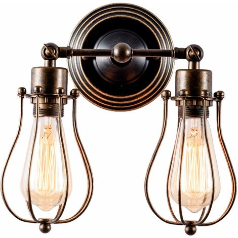 Vintage Wall Lights 2-Light Lamp Base Adjustable, Wall Lamp Retro Industrial Lighting Lighting Rustic Wire Metal Cage Sconces Indoor Home Bar club