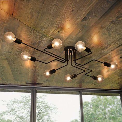 Vintage Ceiling Light Industrial Chandelier Lamp Retro Pendant Light With 8 E27 Lamp Socket for Living Dining Room Bar Cafeteria Restaurant,Black
