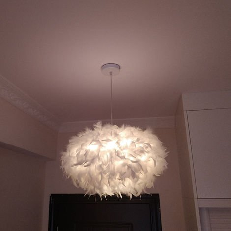 White Feather Ceiling 45cm Pendant Light Shade Modern Chandelier E27 Lampshade Floor Lamp for Living Room Dining Room Bedroom
