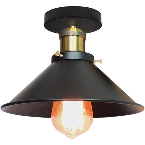 22cm Retro Industrial Style Chandelier Lamp Black Metal Vintage Ceiling Pendant Light Shade Indoor Bar Club Ceiling Lampshade Lights Fixture