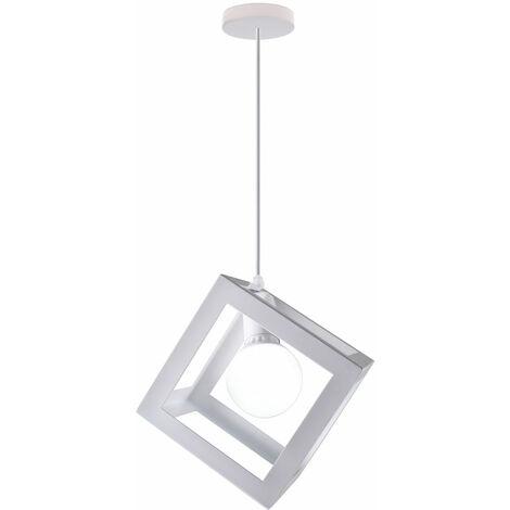 White Square Metal Ceiling Lamp Geometric Cube Pendant Light E27 Modern Pendant Lamp Modern Hanging Light for Loft Cafe Bar Restaurant