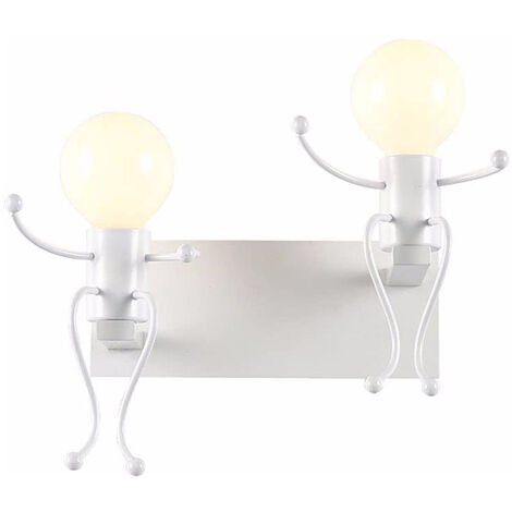 Creative Simple Wall Light Modern Double Heads Wall Sconce Humanoid Art Wall Lamp for Living Room Bedroom Cafe Bar White
