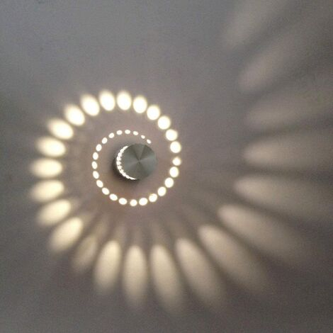 Creative Spiral Ceiling Light Round Modern Chandelier Led Simple Wall Light for Bedroom Cafe Living Room 3W Warm White