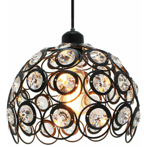 Ø26cm Retro Classic Chandelier Modern Crystal Pendant Light Creative Metal Ceiling Lamp for Bedroom Bar Office Black