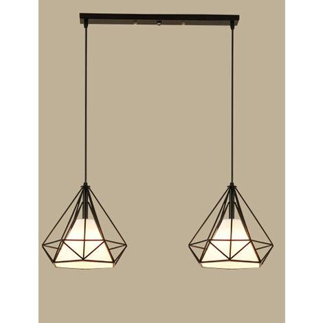 Creative Ø25CM Diamond Pendant Light Double Heads Retro Hanging Light Industrial Vintage Chandelier for Office Cafe Loft Bar Bedroom Black
