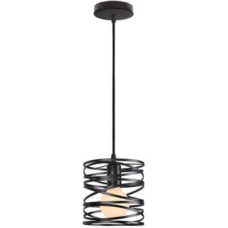 Retro Pendant Light Vintage Pendant Lamp Metal Lamp Shade Black Industrial Ceiling Light for Indoor Lighting-(Ø20CM)
