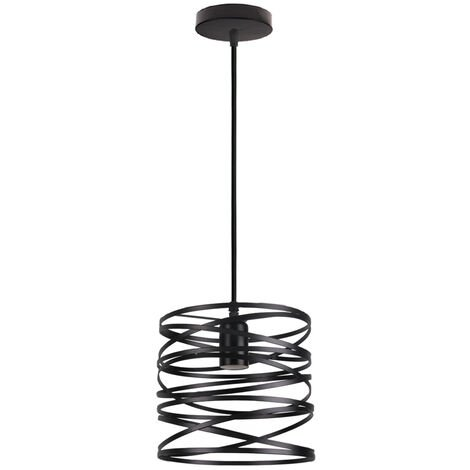 Retro Pendant Light Vintage Pendant Lamp Metal Lamp Shade Black Industrial Ceiling Light for Indoor Lighting-(Ø16CM)