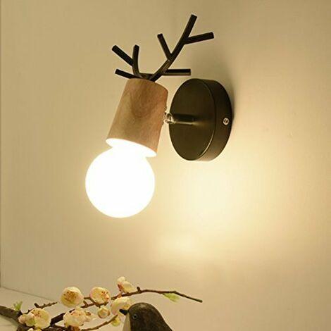 Modern Wall Light Retro Vintage Wall Lamp Christmas Deer Wall Sconce Creative Antlers Wall Lamp E27 Black Metal Wood Wall Light