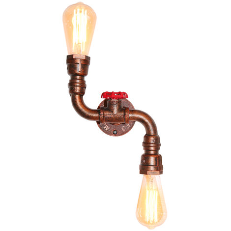 Rustic Industrial Wall Lamp Rust Vintage Double Heads Wall Light Retro Metal Wall Sconce for Living Room, Dining Room, Office, Pub, Cafe, Hotel