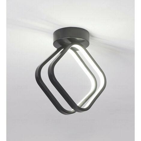 Modern Led Ceiling Light Nordic Chandelier Creative Acrylic Cube Ceiling Lamp Black for Bedroom, Kitchen, Living Room, Corridor, Restaurant, Balcony, Cold White