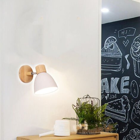 Modern Wall Light Wood Nordic Wall Sconce White Retro Vintage Wall Lamp for Indoor Bedroom Cafe Bar Living Room