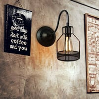 Retro Wall Light Industrial Creative Wall Lamp Vintage Wall Sconce (Black) for Café Loft Kitchen Hotel Office Living Room