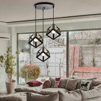 Black Square Metal Ceiling Lamp Geometric Cube Pendant Light E27 Modern 3 Lights Pendant Lamp Modern Hanging Light for Loft Cafe Bar Restaurant