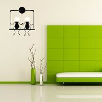 Creative Double Head Wall Lamp Person Art Ceiling Lamp Modern Stylish Wall Light for Bedroom Bar Cafe Office Black
