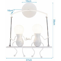 Double Head Creative Wall Lamp Person Art Ceiling Lamp Modern Stylish Wall Light for Bedroom Bar Cafe Office White