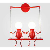 Creative Double Head Wall Lamp Person Art Ceiling Lamp Modern Stylish Wall Light for Bedroom Bar Cafe Office Red
