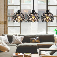 Modern Crystal Pendant Light Retro Classic Chandelier Creative 3 Lights Ceiling Lamp for Bedroom Bar Office Black