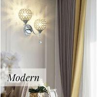 Creative Double Heads Wall Sconce Crystal Wall Lamp Modern Minimalist E27 Wall Light for Bedroom Decor Corridor Restaurant Bar Silver