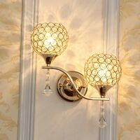 Creative Double Heads Wall Sconce Crystal Wall Lamp Modern Minimalist E27 Wall Light for Bedroom Decor Corridor Restaurant Bar Gold