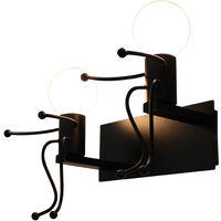 Creative Simple Wall Light Modern Double Heads Wall Sconce Humanoid Art Wall Lamp for Living Room Bedroom Cafe Bar Black