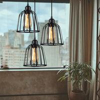 Vintage Pendant Lamp Industrial Pendant Light 3 Lights Antique Ceiling Light Metal Cage Lamp Shade for Cafe Loft Black E27
