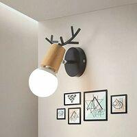 Modern Wall Light Christmas Deer Wall Sconce Creative Antlers Wall Lamp E27 Black Metal Wood Wall Light Retro Vintage Wall Lamp