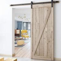 Barn Pulley Door Hardware Kit Sliding Track Steel Slide Track Rail Door Antique Retro Style Sliding Door for Sliding Panel Wood Door Closet Cabinet 230CM Black