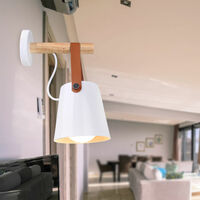 Modern Wall Light Industrial Retro Wall Sconce Metal Wall Lamp Wood Wall Lamp E27 White