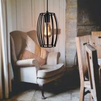 Vintage Chandelier Creative Industrial Pendant Light Cage Pendant Lamp Retro Hanging Light Metal Iron Lamp Shade Black
