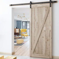 Barn Pulley Door Hardware Kit Sliding Track Steel Slide Track Rail Door Antique Retro Style Sliding Door Black for Sliding Panel Wood Door Closet Cabinet 230CM