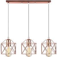 Modern Pendant Light Vintage Chandelier E27 Metal Ceiling Lamp 3 Lights Retro Pendant Lamp Rose Gold