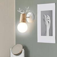 Modern Wall Light-Creative Christmas Deer Wall Sconce Antlers Wall Lamp E27 White Metal Wood Wall Light Retro Vintage Wall Lamp