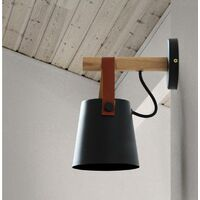 Modern Wall Light Industrial Retro Wall Sconce Metal Wall Lamp Wood Wall Lamp E27 Black