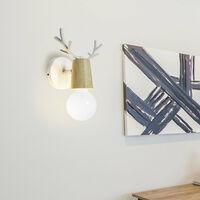 Modern Wall Light Christmas Deer Wall Sconce Creative Antlers Wall Lamp E27 White Metal Wood Wall Light Retro Vintage Wall Lamp