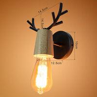Modern Wall Light Retro Vintage Wall Lamp Christmas Deer Wall Sconce Creative Antlers Wall Lamp Metal Wood Wall Light E27 Black
