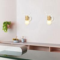 Modern Wall Light,Metal Wood Wall Light Antlers Wall Lamp Creative Christmas Deer Wall Sconce E27 Retro Vintage Wall Lamp White(2PCS)